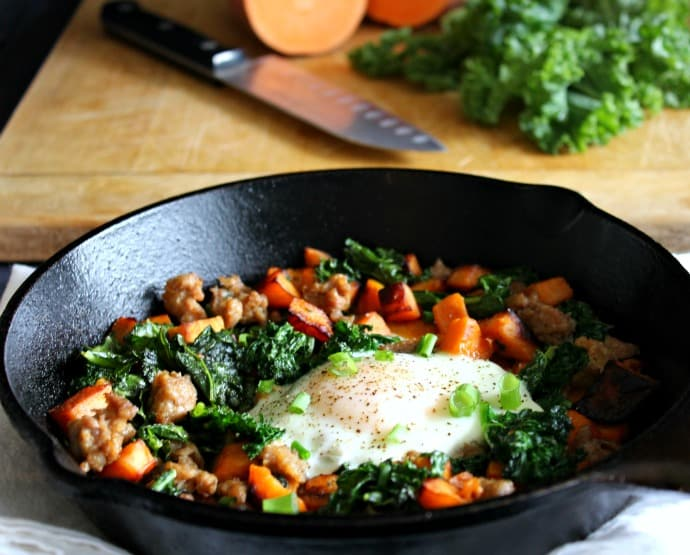 Sweet Potato Sausage Breakfast Hash with Kale - whole30, paleo, sugar detox friendly