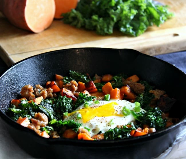 Sweet Potato Sausage Breakfast Hash with Kale