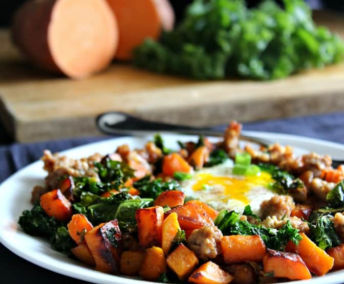 Sweet Potato Sausage Hash with Kale - Paleo and whole30