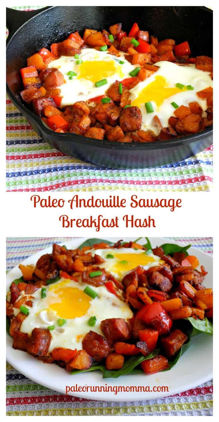Paleo Andouille Sausage Breakfast Hash #dairyfree #grainfree #paleo