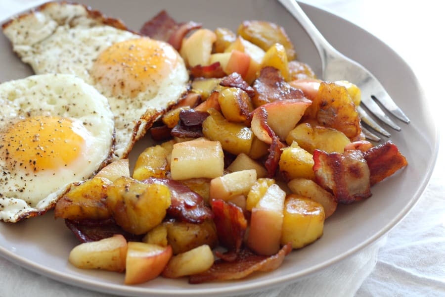 Plantain Apple Bacon Breakfast Hash - paleo whole30