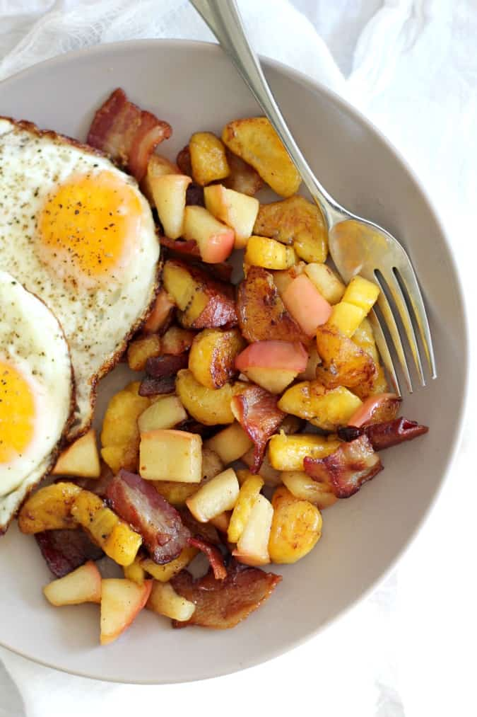 Sweet Plantain Apple Bacon Breakfast Hash {Paleo & Whole30}