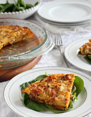 Paleo Chorizo Sausage Sweet Potato Frittata with Caramelized Onions