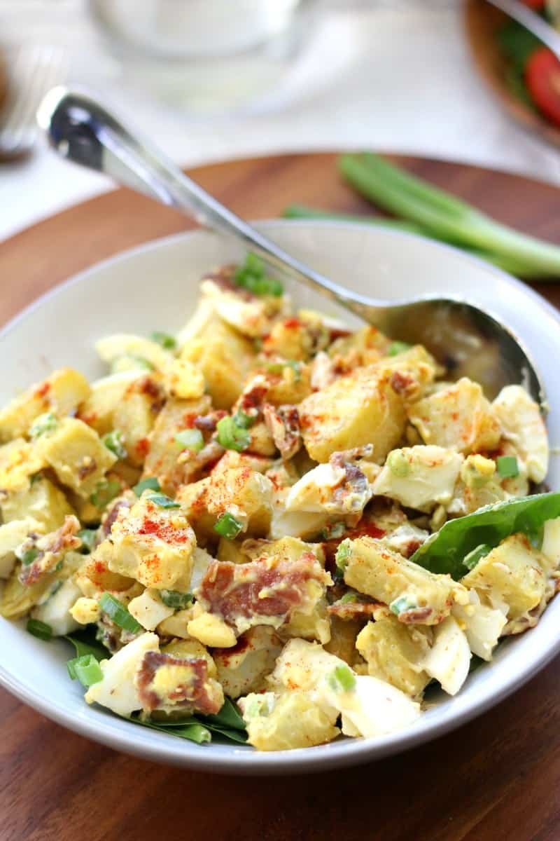 Paleo Sweet potato salad with bacon, green onion, eggs, and paleo mayo