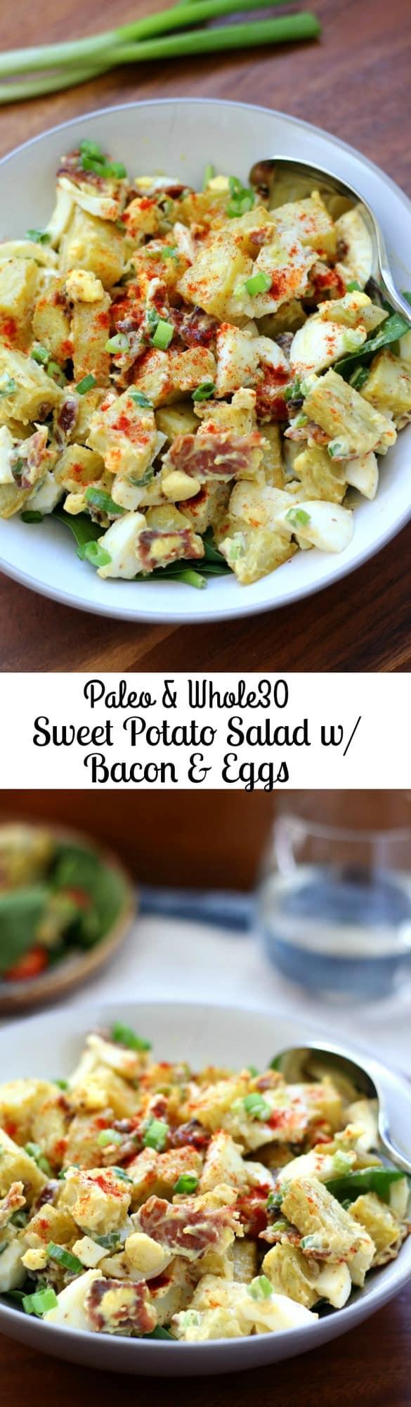 Paleo & Whole30 Sweet Potato Salad with Bacon, Eggs, Green onion and Paleo mayo. Japanese or white sweet potatoes preferable!