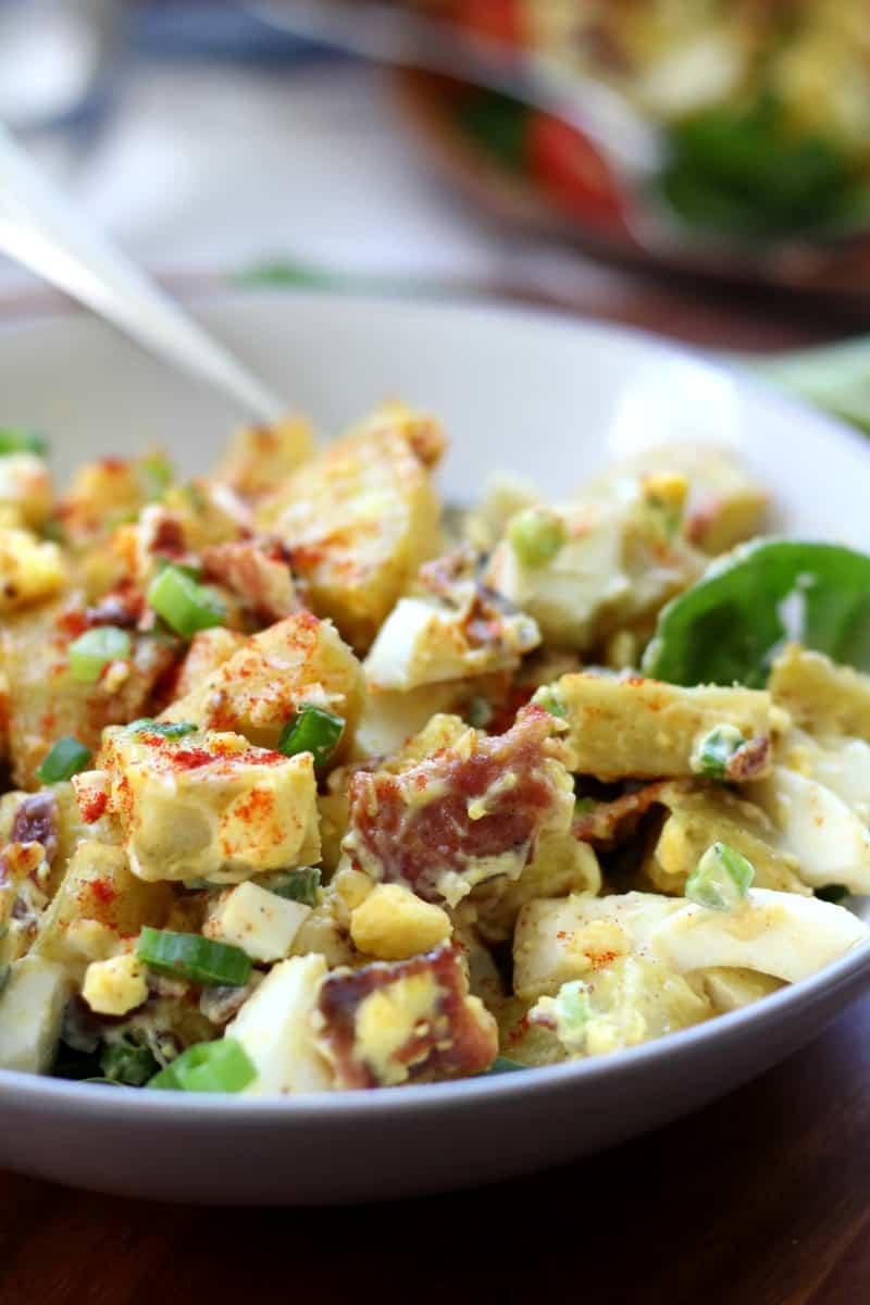 Paleo sweet potato salad with eggs, bacon, green onion, paleo mayo