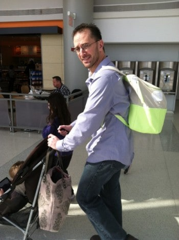 Daddy at the aiport with Lulu backpack