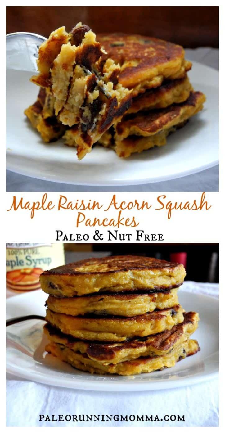 Maple Raisin Acorn Squash Pancakes #paleo #nutfree