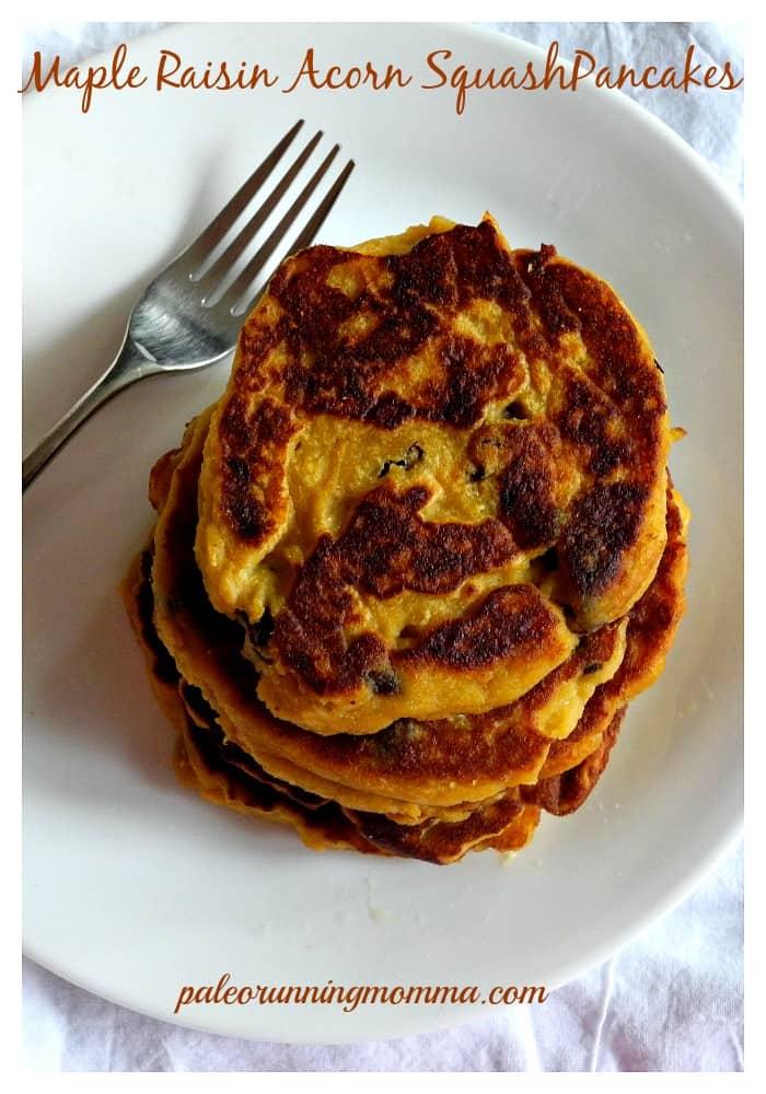 Maple Raisin Acorn Squash Pancakes #paleo #nutfree #grainfree