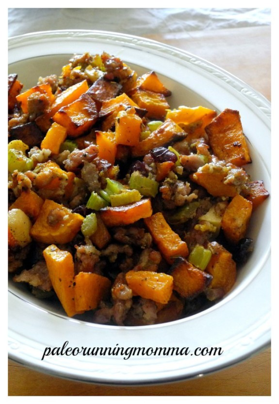 Paleo Butternut Sausage Stuffing with Apples & Cranberries #grainfree #Thanksgiving