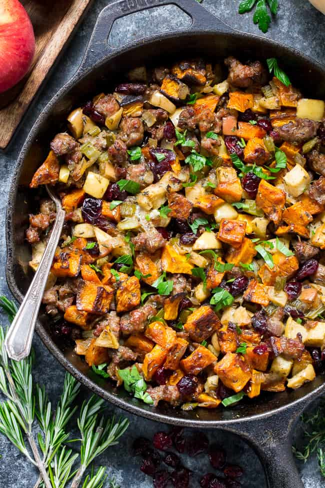 Paleo Butternut Sausage Stuffing With Apples Cranberries
