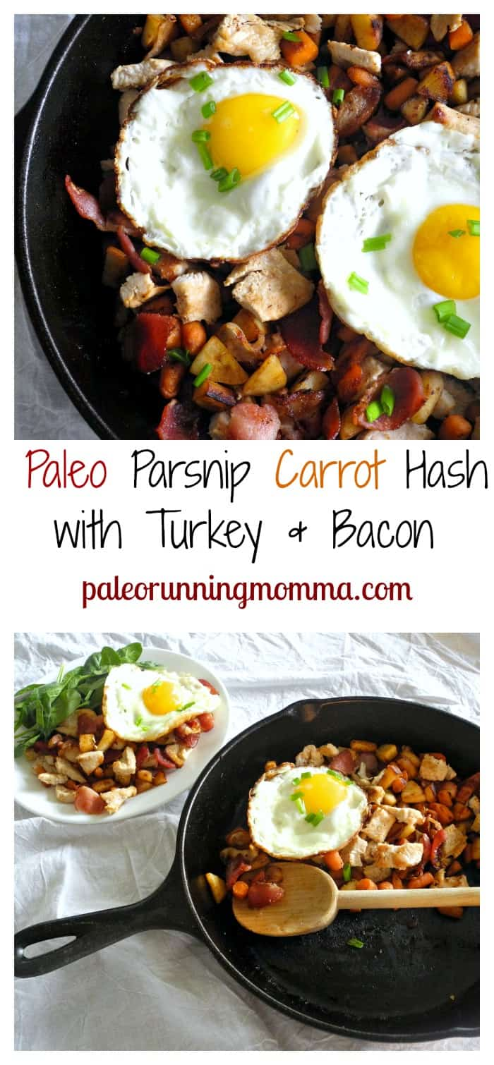 Parsnip Carrot Hash with Turkey & Bacon #paleo #whole30