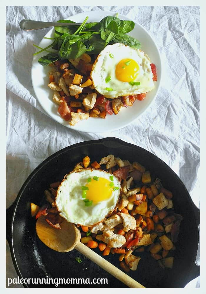 parsnip carrot turkey and bacon hash