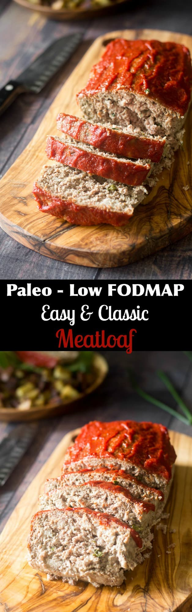 Paleo and Low FODMAP meatloaf that's easy to make and great for picky eaters!  Plenty of flavor with optional maple chipotle glaze