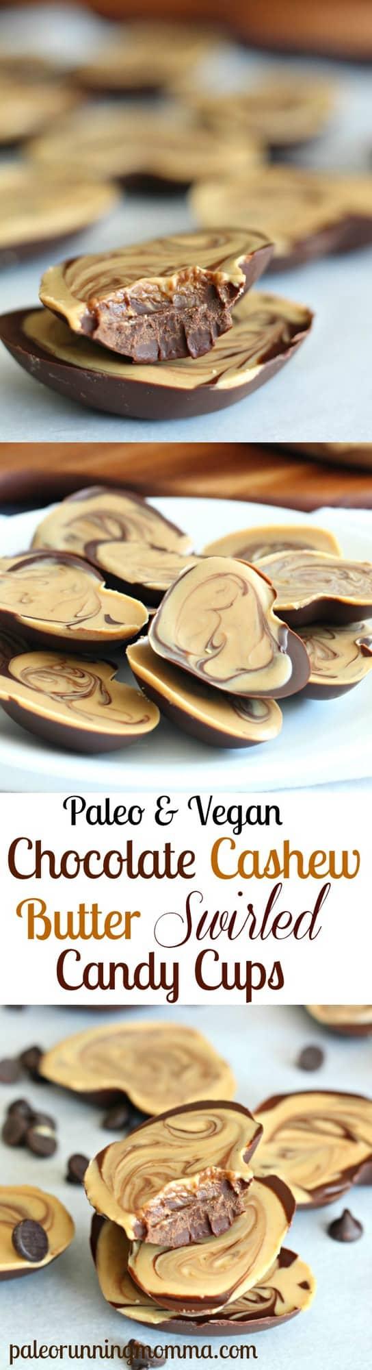 Paleo & Vegan Chocolate Cashew Butter Swirled Candy Cups - So rich and creamy! #dairyfree #grainfree #glutenfree #vegan #paleo #cleaneating