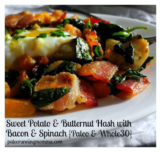 Sweet potato butternut hash with bacon & Spinach #paleo #whole30