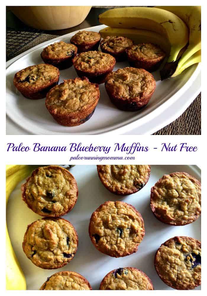 Paleo Blueberry Banana Muffins - nut free, dairy free, grain free - @paleorunmomma