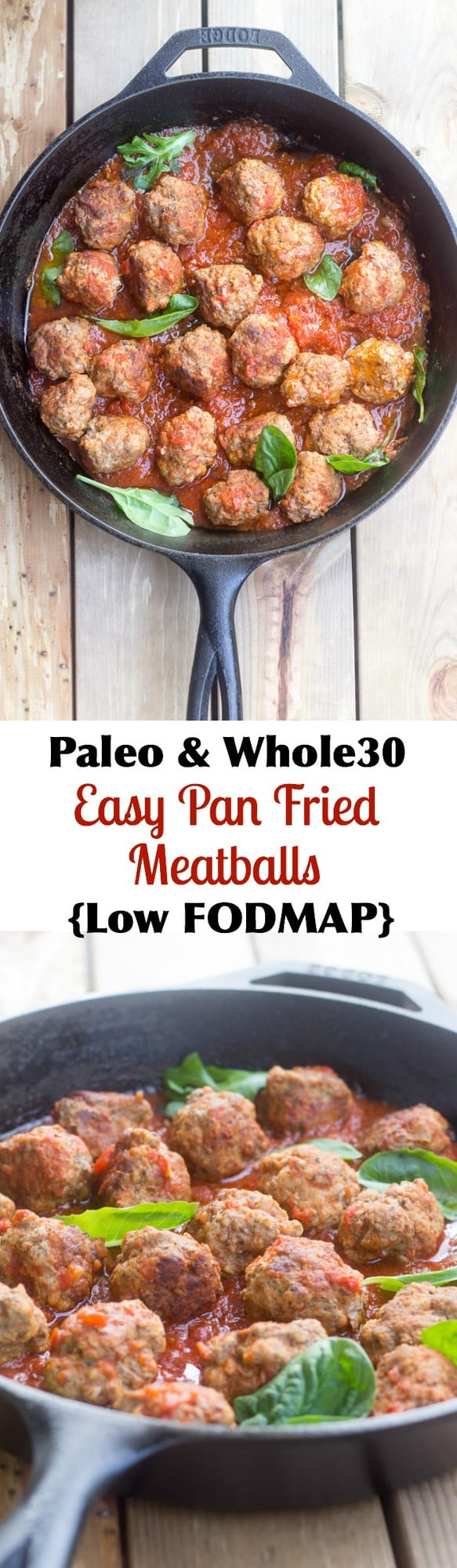 Paleo and Whole30 friendly easy pan fried meatballs that are perfect for a weeknight dinner! They're also low FODMAP and great for picky eaters.