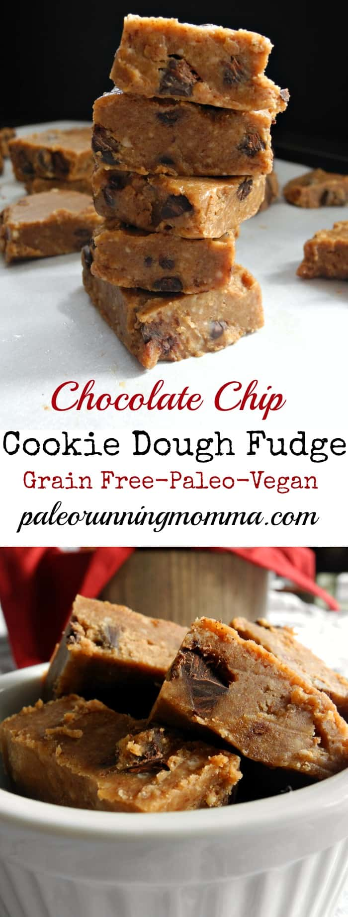 Chocolate Chip Cookie Dough Fudge #glutenfree #grainfree #vegan #paleo
