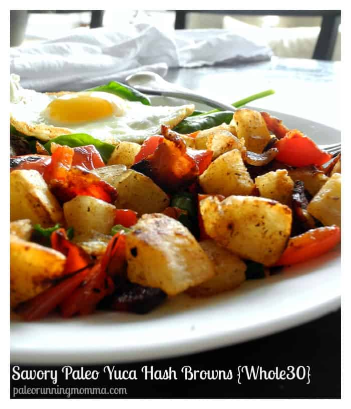 Savory #Paleo Yuca Hash Browns - #whole30