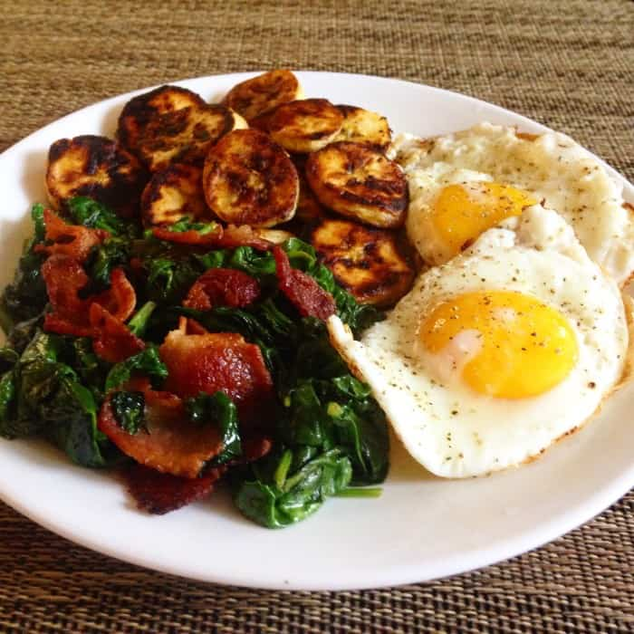 Bacon, spinach, sweet plantains, eggs