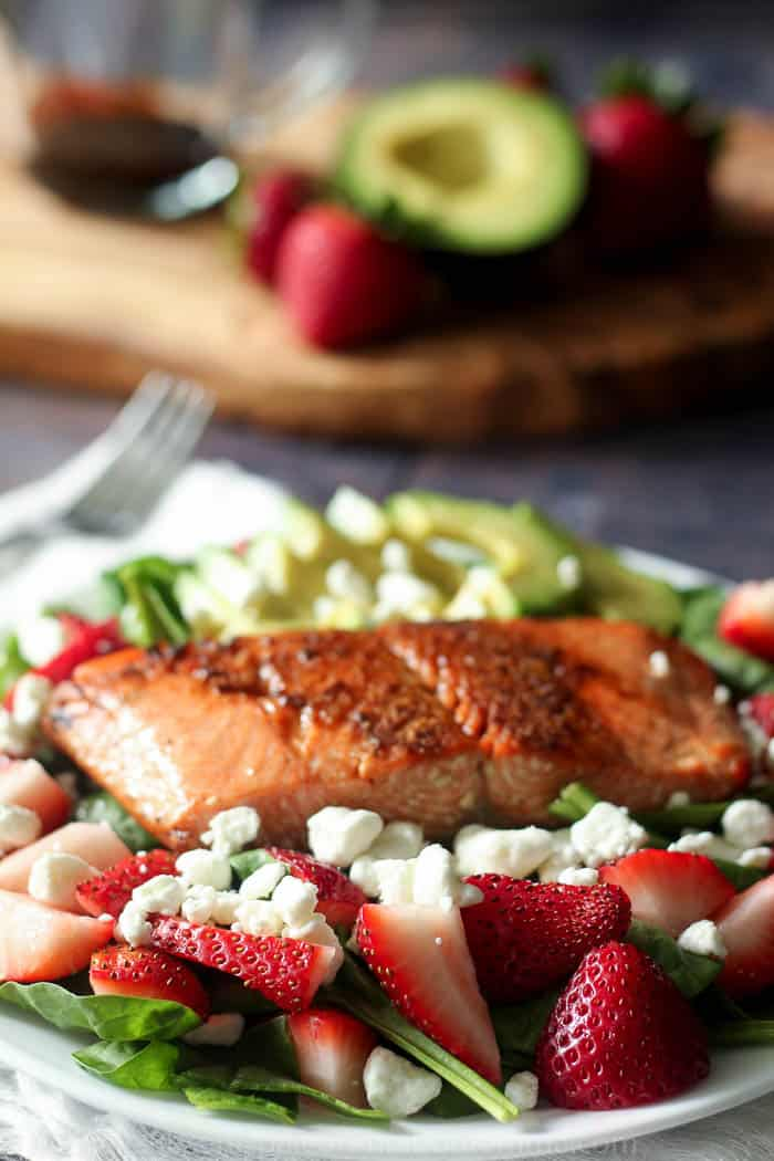 salmon strawberry avocado salad-3