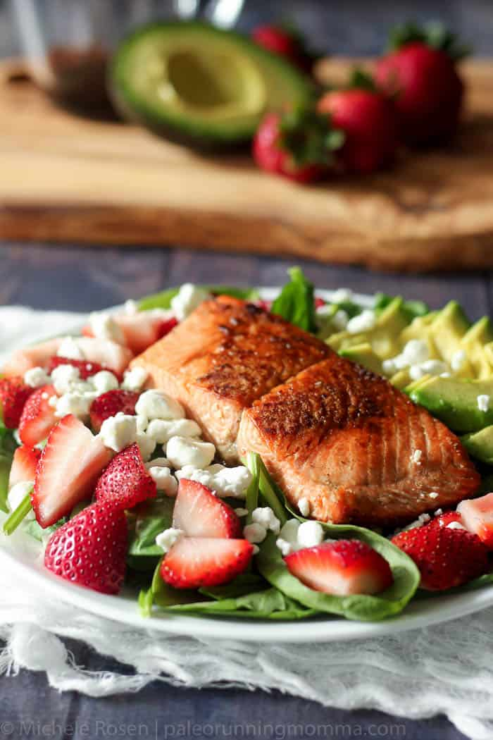 salmon strawberry avocado salad-5