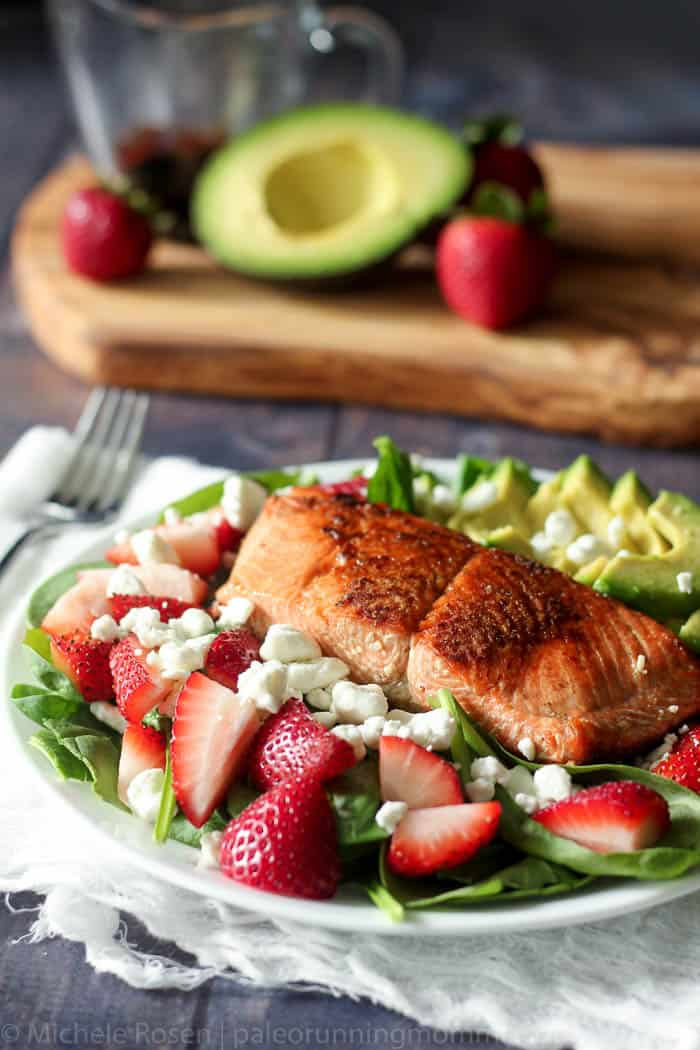 salmon strawberry avocado salad-6