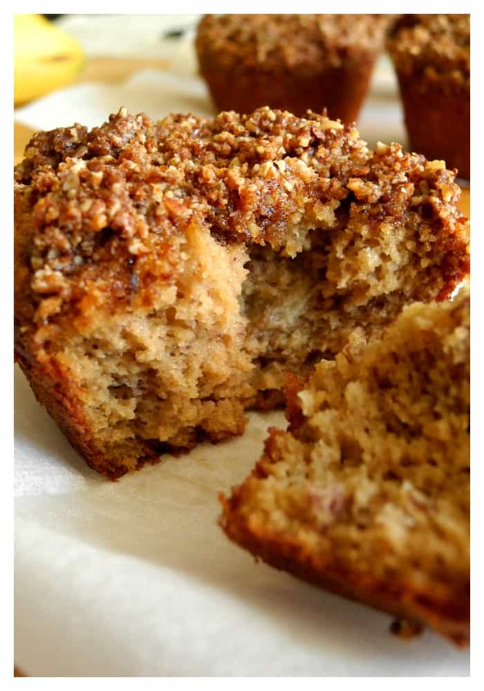 Banana almond coffee cake muffin