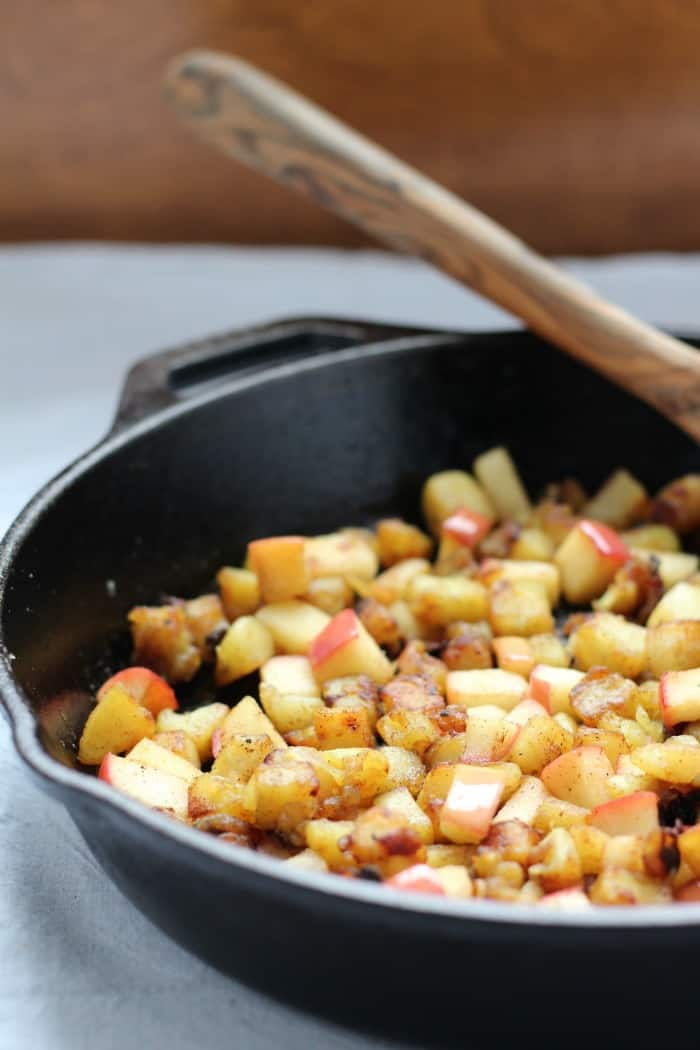 Caramelized sweet potato apple hash 4