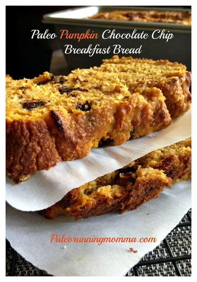 Paleo Pumpkin Chocolate Chip Breakfast Bread - grain and dairy free @paleorunmomma