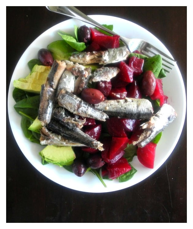 Anchovies in olive oil, slow cooked beets, avocado, olives and spinach