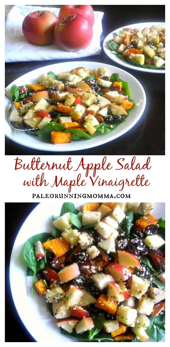 Butternut Apple Salad with Maple Vinaigrette, raisins, and hemp seeds @paleorunmomma #paleo #vegan