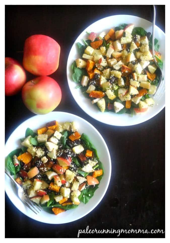 Butternut Apple Spinach Salad with Maple Vinaigrette, Raisins, and Hemp Seeds
