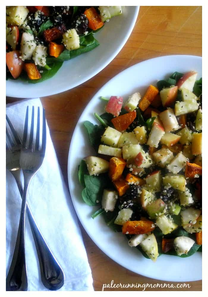 Butternut Apple Spinach Salad with Raisins, Hemp Hearts & Maple Vinaigrette