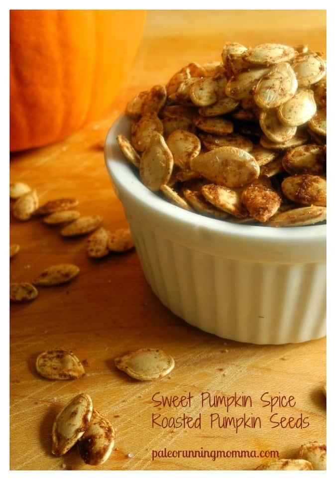 Sweet Pumpkin Spice Roasted Pumpkin Seeds @paleorunmomma
