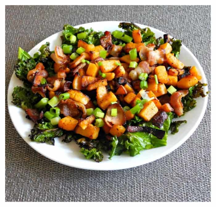 Sweet potatoes, bacon, kale, green onion