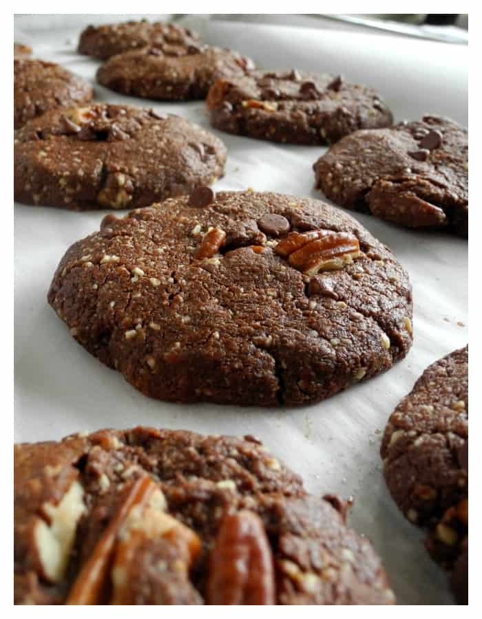 Chewy Double Chocolate Pecan Cookies {Paleo}