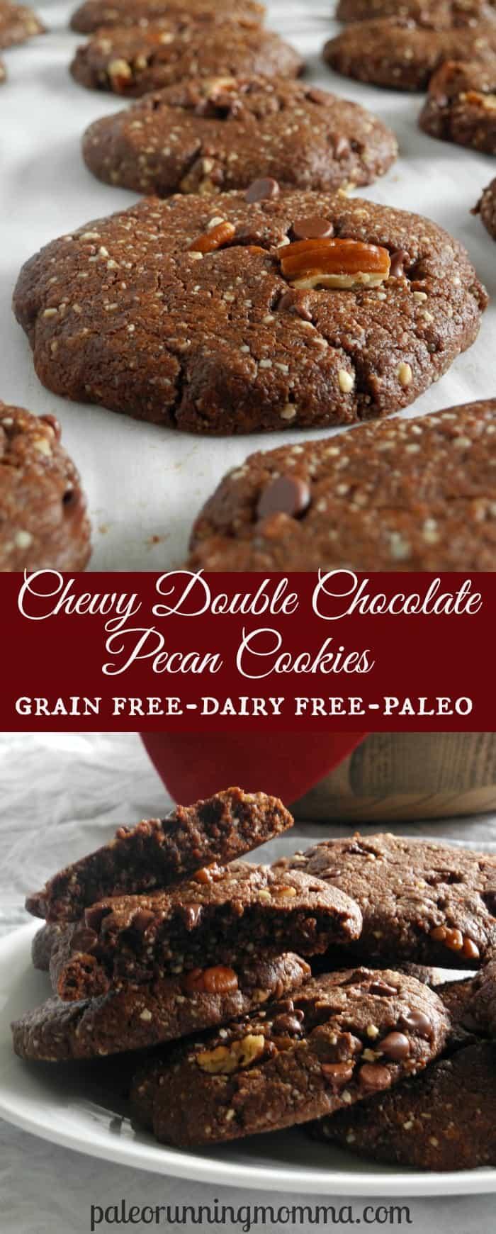 Chewy Double Chocolate Pecan Cookies #grainfree #dairyfree #paleo @paleorunmomma