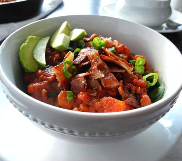 Chorizo Sausage Sweet Potato Chili with Bacon