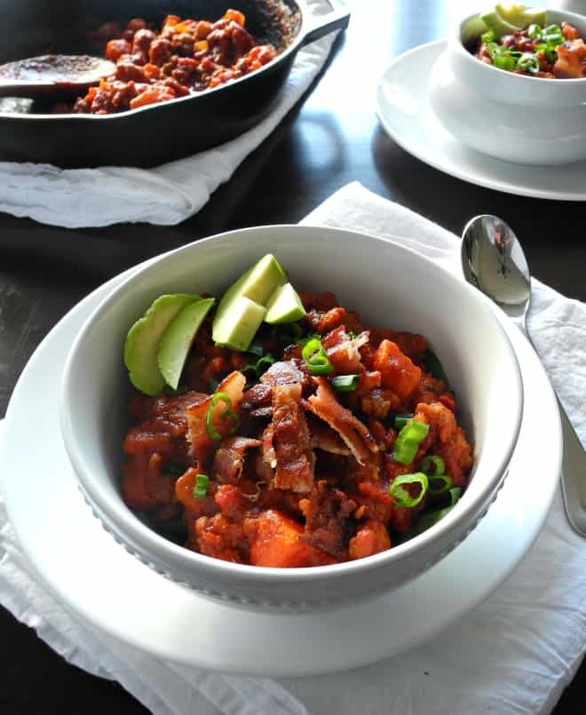 Chorizo Sausage Sweet Potato Chili with Bacon - paleorunningmomma.com