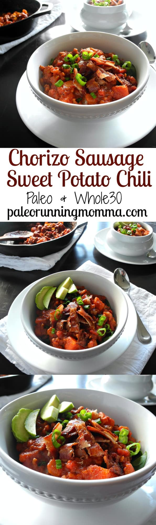 Chorizo Sweet Potato Chili with bacon - Paleo, Whole30 friendly hearty, chunky chili with tons of flavor, ready in 30 minutes!