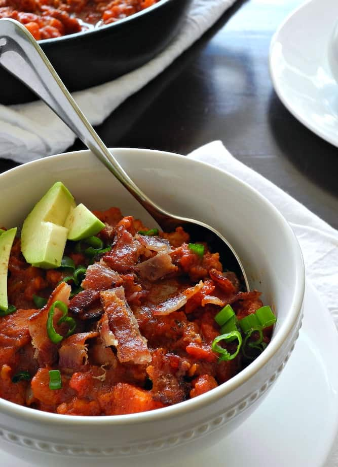 Chunky Chorizo Sausage Sweet Potato Chili with bacon - paleorunningmomma.com