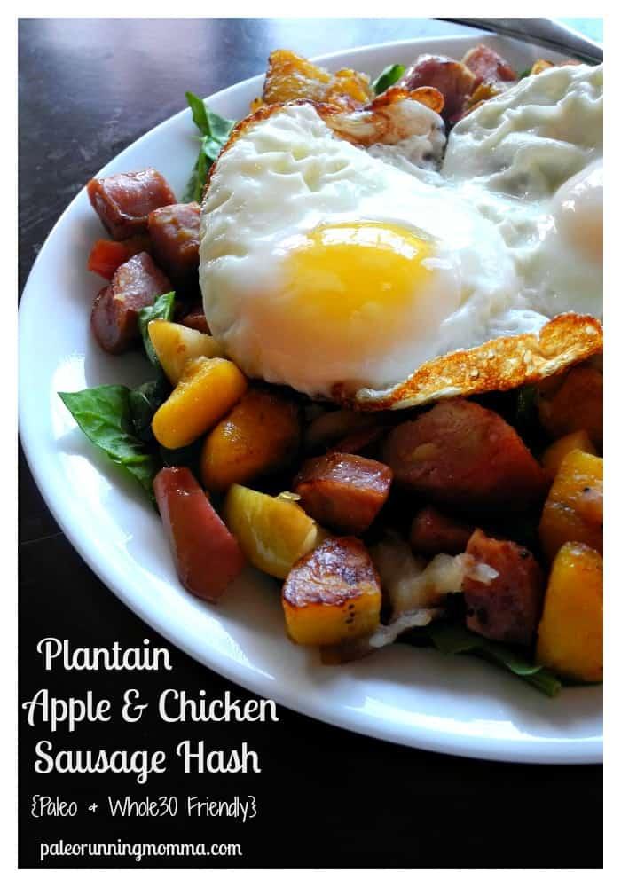 Plantain, Apple & Chicken Sausage Hash @paleorunmomma #Whole30 #paleo