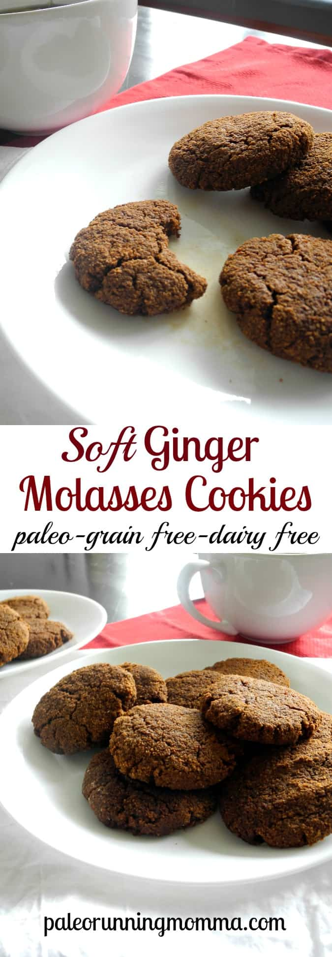 Soft Paleo Ginger Molasses Cookies - Grain free dairy free and paleo @paleorunmomma