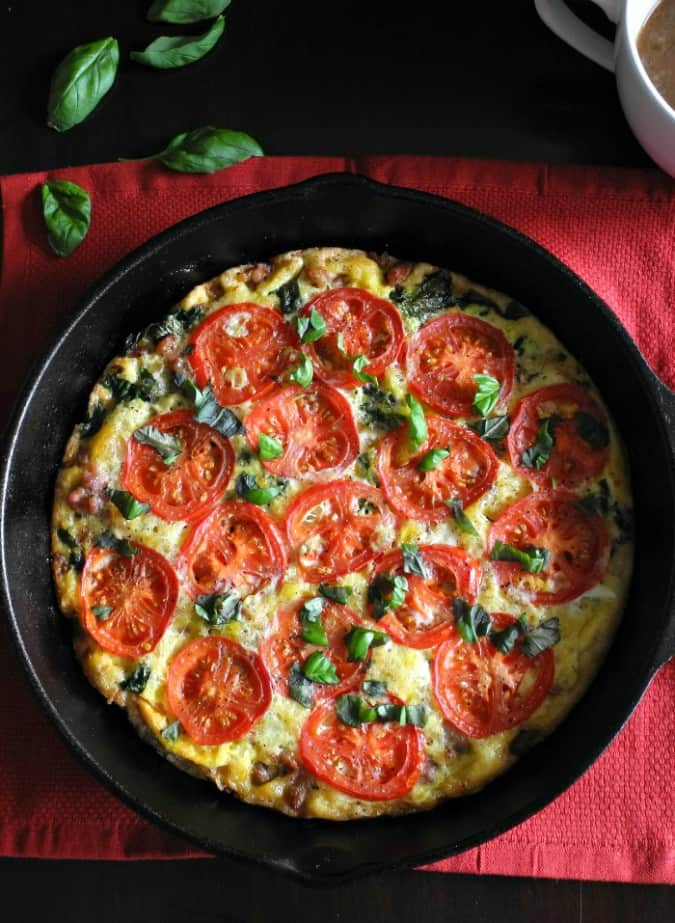 simple one-pan Sausage Tomato Basil Frittata that's Paleo and ...