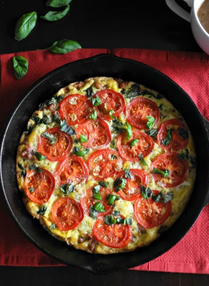 Sausage Tomato basil frittata #paleo #dairyfree #whole30