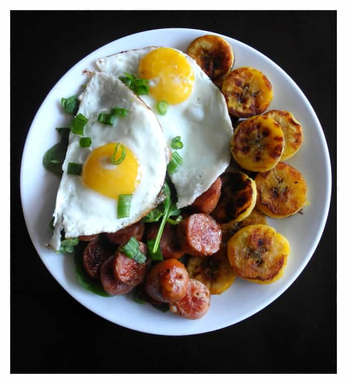 WIAW Plantains and andouille sausage breakfast