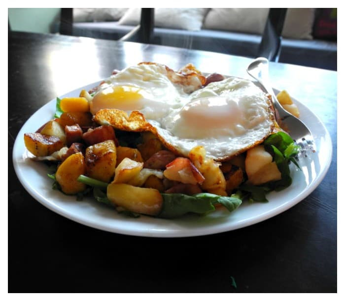 plantain, apple & chicken sausage quick hash