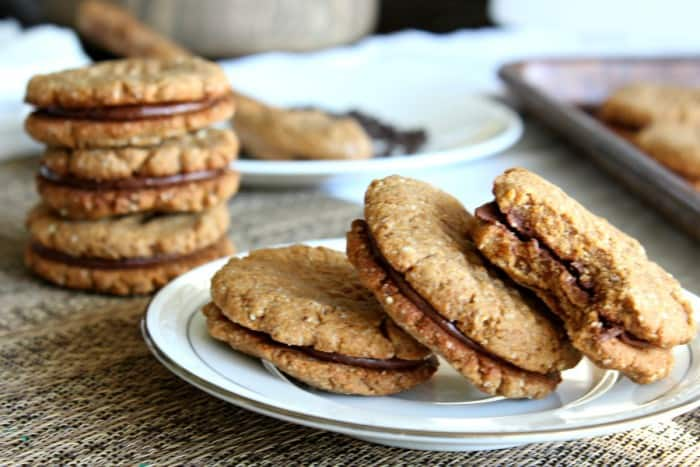 Almond butter chocolate sandwich cookies